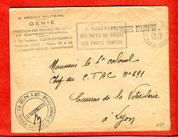 Militaria 1957 Cachet Franchise Clermont-Ferrand Génie Direction Des Travaux Oblitération Mécanique Pates De Fruits..... - Documents