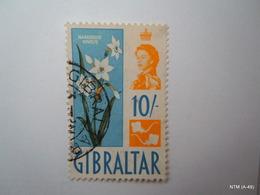 GIBRALTAR 1960, Queen Elizabeth II. 10S Stamp On Narcissus Niveus, Flowers. SG172. Used. - Gibraltar