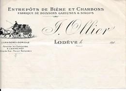 191. LODEVE - Entrepôts De BIÈRE Et CHARBONS - Maison J. OLLIER - Documenti Storici