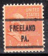 USA Precancel Vorausentwertung Preo, Locals Pennsylvania, Freeland 608 - Vereinigte Staaten