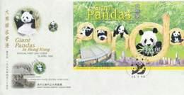 Hong Kong China Giant Panda 1999 Bamboo (miniature FDC) *odd Shape - 1997-... Région Administrative Chinoise