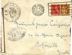 1939- Enveloppe De METZ ( Moselle ) Pour  Thionville ( Moselle )  Censure  F A 79 De Metz - Guerre De 1939-45
