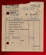 Petite Facture L. Salat Beurre Fromage En Gros Tarbes 9-06-1959 - Petits Suisses Yaourt Carrés Gervais ... - Alimentaire
