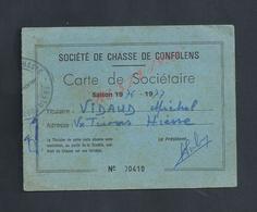 CARTE DE SOCIÉTAIRE SOCIÉTÉ DE CHASSE DE CONFOLENS SAISON 1976/77 DE Mr VIDAUD MICHEL : - Cartes