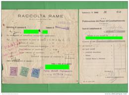 Vicenza Montegalda 1941 PNF Raccolta Rame Bollettino - Documenti Storici