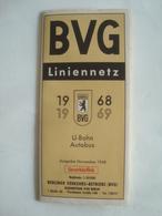 BVG BERLINER VERKEHRS-BETRIEBE. LINIENNETZ 1968/69 - GERMANY, DEUTSCHLAND, BERLIN, 1968/69. - Vervoerbewijzen