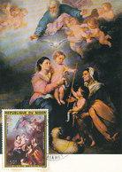 D33304 CARTE MAXIMUM CARD FD 1975 REP. NIGER - VIRGIN OF SEVILLA BY MURILLO CP ORIGINAL - Madonna
