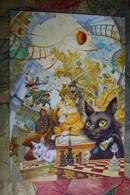 """JEU - ECHECS - CHESS. Rare Modern Postcard - Popugaev& Nepomnyashyi """"Cats Playing Chess"""" - Echecs"""