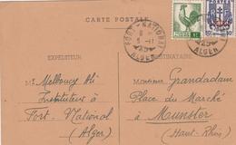 Algérie Carte Fort-National Pour La France 1945 - Covers & Documents