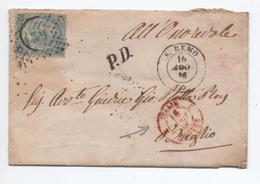 1866 - ENVELOPPE De SAN REMO Pour BREGLIO / BREIL SUR ROYA (ALPES MARITIME) Avec CACHET D'ENTREE ITALIE / MENTON - Storia Postale