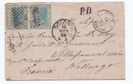 1869 - LETTRE De BOLOGNA Pour VILLEFRANCHE SUR MER (ALPES MARITIMES) Avec CACHET D'ENTREE NOIR ITALIE / MENTON - Marcophilie
