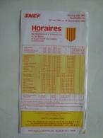 SNCF. HORAIRES DE TOULOUSE LA TOUR DE CAROL À VILLEFRANCHE V. LES BAINS ET À PERPIGNAN - FRANCE, 1982. - Biglietti Di Trasporto