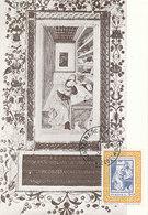 D33324 CARTE MAXIMUM CARD 1975 ITALY - POET PETRARCA - ON MINIATURE CP ORIGINAL - Art