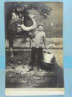 Carte Photo Quaregnon Coq Et Chaudron Enlevés Du Clocher De L'église Le 21 Mai 1909 - Quaregnon