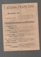 Tract DE L'ACTION FRANCAISE (sd Années 30 ) (F.2897) - Documenti Storici
