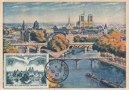 D33331 CARTE MAXIMUM CARD 1947 FRANCE - UPU BRIDGES PARIS PONTS - 500 FR - POSTMARK CONGRES CP ORIGINAL - Bridges