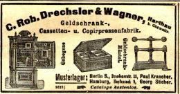 Original-Werbung/ Anzeige 1904 - GELDSCHRANK-FABRIK / DRECHSLER & WAGNER - HARTHAU BEI CHEMNITZ - Ca. 100 X 50 Mm - Publicités