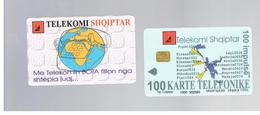 ALBANIA - 1996 PHONE & GLOBE     - USED -  RIF. 10792 - Albania