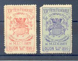 Dijon 1899 Gymnastique, 2 Vignettes, Labels, Cinderellas, Viñetas... - Commemorative Labels