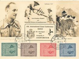 D33349 CARTE MAXIMUM CARD 1953 LIECHTENSTEIN - LORD BADEN POWELL SCOUTING CONFERENCE VADUZ CP ORIGINAL - Maximum Cards