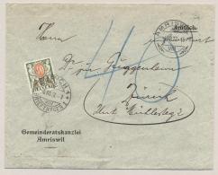 Schweiz - 1927 - 40c Postage Due On Unfranked Amtliche Cover From Amriswil To Zürich - Strafportzegels