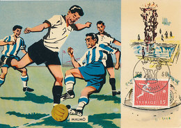 D33352 CARTE MAXIMUM CARD RR 1958 SWEDEN - SOCCER WORLD CHAMPIONSHIP - POSTMARK MALMÖ CP ORIGINAL - World Cup