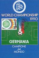 D33357 CARTE MAXIMUM CARD TRIPLE 1990 ITALY - SOCCER WORLD CHAMPIONSHIP LOGO CP ORIGINAL - World Cup