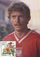 D33359 CARTE MAXIMUM CARD 1986 POLAND - BONIEK SOCCER WORLD CHAMPIONSHIP MEXICO CP ORIGINAL - World Cup