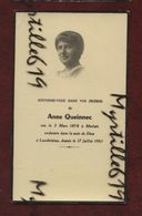 Faire-part De Décès - Morlaix - Landivisiau - (1961) Memento Anne Queinnec - Avvisi Di Necrologio