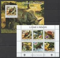 M554 2003 S.TOME E PRINCIPE FAUNA REPTILES DINOSAURS JAMBORE 2002 1BL+1KB MNH - Stamps