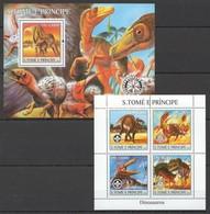 M562 2004 S.TOME E PRINCIPE FAUNA REPTILES DINOSAUROS 1BL+1KB MNH - Stamps