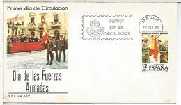 MADRID FDC DIA DE LAS FUERZAS ARMADAS ARMY DAY BANDERA FLAG - Sobres
