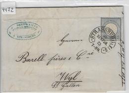 1872 Freimarke 20 - Hufeisen-Stempel Strassburg 25. Semprbr. 73 To Wyl St. Gallen J. Dettweiler - Storia Postale