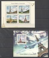 M571 2010 S.TOME E PRINCIPE AVIATION ARCHITECTURE TOUR EIFFEL CONCORDE 1KB+1BL MNH - Airplanes