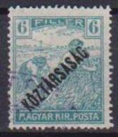 UNGHERIA  1918 SPRASTAMPATO KOZTARSASAG YVERT. 202 USATO VF - Ungheria