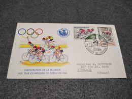 RARE BELGIQUE BELGIUM FDC COVER OLYMPIC GAMES CYCLING TOKIO 1964 - Cyclisme