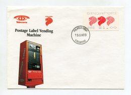 SINGAPORE ATM FDC COVER 1989 PHILATELIC BUREAU - Singapore (1959-...)