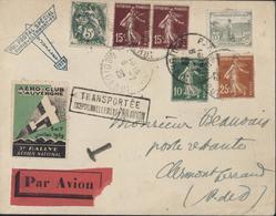 Enveloppe Transportée Exceptionnellement Par Avion Vol Postal Spécial Paris Clermont Fd 1929 Vignette 5ème Rallye Aérien - Marcophilie (Lettres)