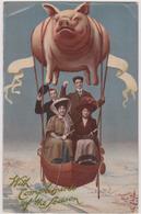 Cpa,,sur Les Voyages ,le Cochon, Ballon Et Champagne,montgolfiere,vol - Humour