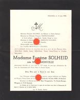 WEGNEZ  Pepinster  1950 Mme EUGENE SOLHEID Née MARIE MONVILLE - Avvisi Di Necrologio
