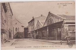 Cpa,monistrol Sur Loire,haute Loire,l'église Et La Halle (altitude 603m) Cure D' Air ,43 - Monistrol Sur Loire
