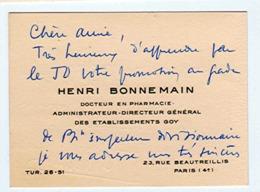 Henri BONNEMAIN Docteur En Pharmacie Administrateur-Directeur Général Des Etablissements GOY Paris_cv72 - Cartes De Visite