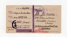 !!! CARTE D'UN PRISONNIER DE GUERRE FRANCAIS AU KENYA DU 25/9/1943 POUR AVIGNON, AVEC CENSURES. RR - Guerra Del 1939-45