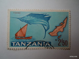 TANZANIA 1965, Fishinh, Stamp Showinh Fish, Mafia Island And A Fishing Boat,2s 50. SG138.  Fine Used. X 3 Stamps. - Tanzania (1964-...)