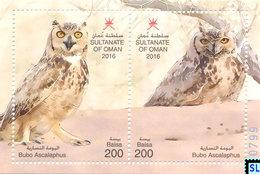 Oman Stamps 2016, Fauna, Owls, Birds, MS - Oman