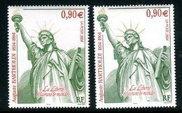 France - 3639 - 1 Exemplaire Vert Jaune + 1 Normal Vert , Neufs ** - Ref VJ90 - Abarten: 2000-09 Ungebraucht