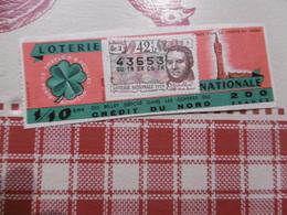 Billet De Loterie - Crédit Du Nord - 1959 - Tréfle à 4 Feuilles - Porte Bonheur (billet Pliée) - Biglietti Della Lotteria