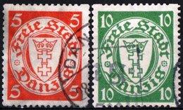DANZICA, DANZIG, ANTICHI STATI, 1924-1939, FRANCOBOLLI USATI, Scott 170a,173f - Danzig