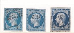 LIG37/4  - NAPOLEON N°14 OBL / 3 TIMBRES Avec Nuances - 1853-1860 Napoléon III