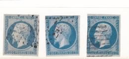 LIG37/5  - NAPOLEON N°14 OBL / 3 TIMBRES Avec Nuances - 1853-1860 Napoléon III